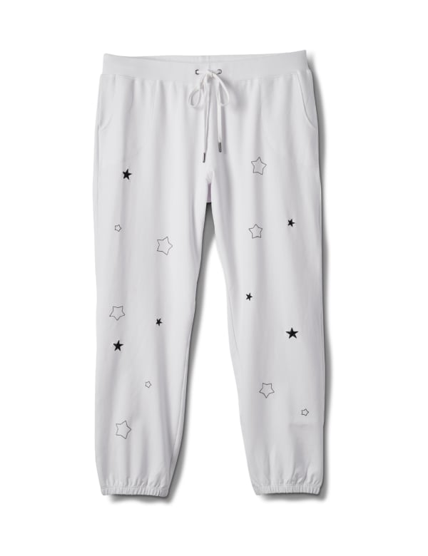 Embroidered Star Knit Pant - Plus - White - Front