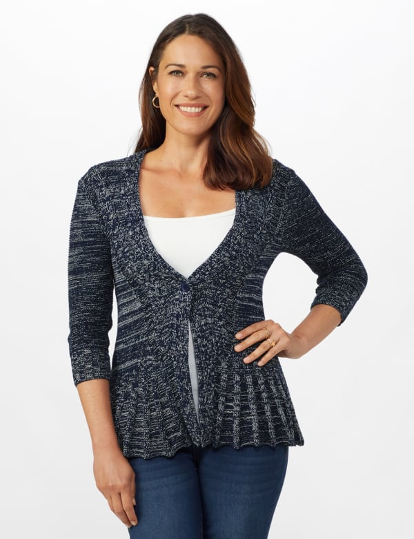 Roz & Ali Marled Button Cardigan - Navy Combo - Front
