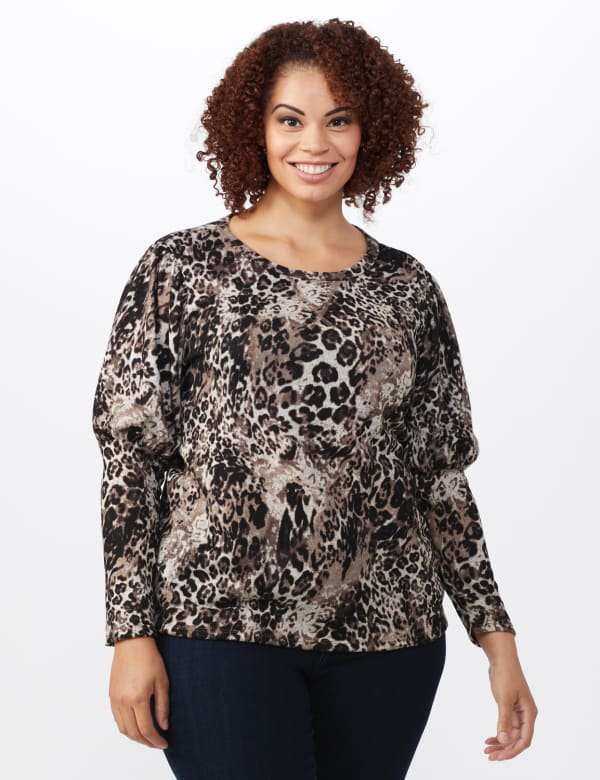 Hacci Sweater Knit Puff Shoulder Animal Top - Plus -Taupe - Front