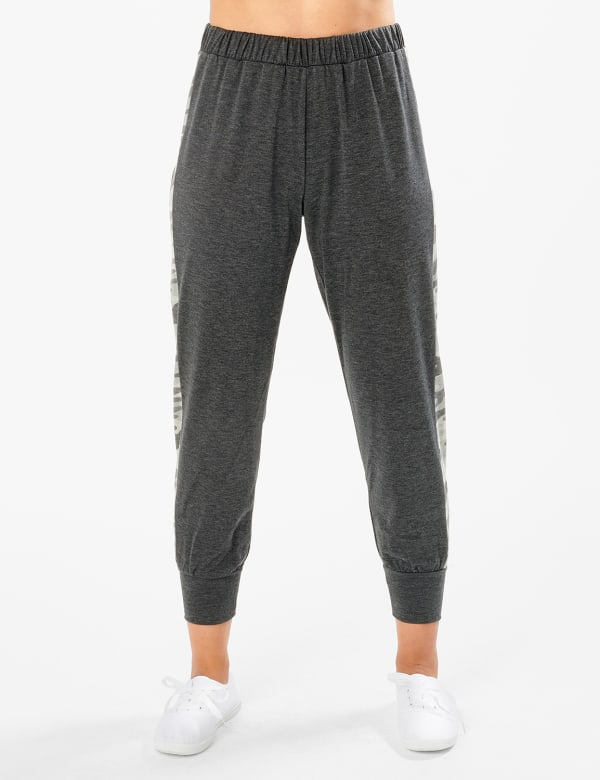 Jogger Knit Pant With Camouflage Trim - Misses - Charcoal - Front