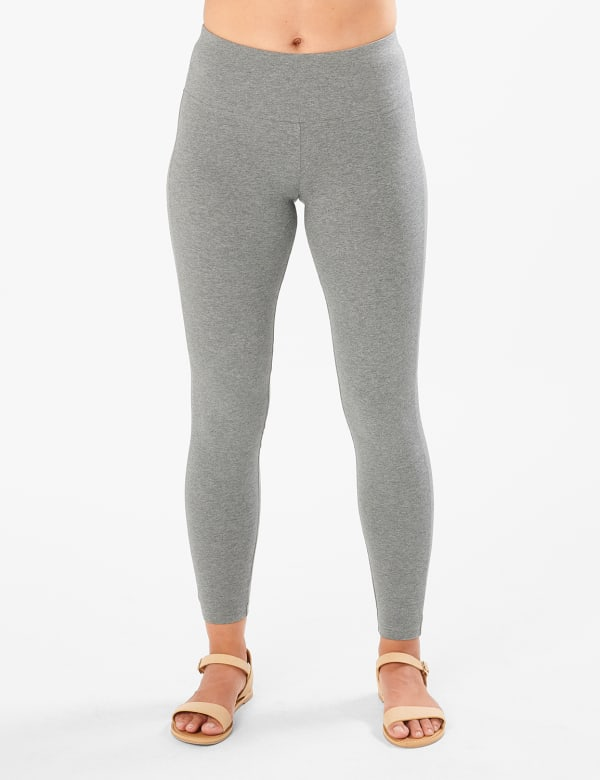 Tummy Control Legging - Heather Grey - Front