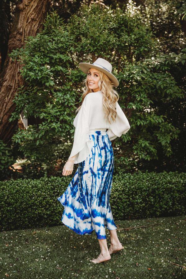 Maxi Skirt in Blue Tie Dye - Blue - Front