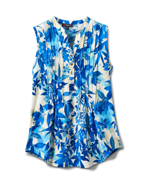 Shades Of Blue Floral Sleevless Knit Popover - Navy/Blue/Taupe - Front