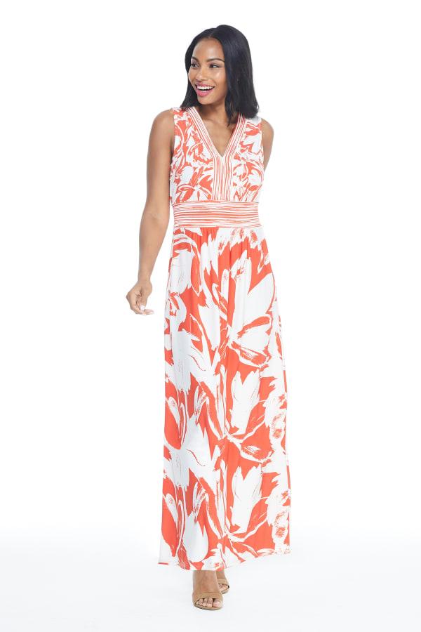 V-Neck Large Floral Maxi Sundress - Orange - Front