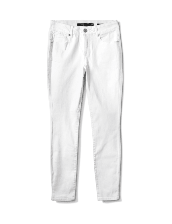 Mid Rise 5 Pocket Goddess Fit Solution Jeans - White - Front