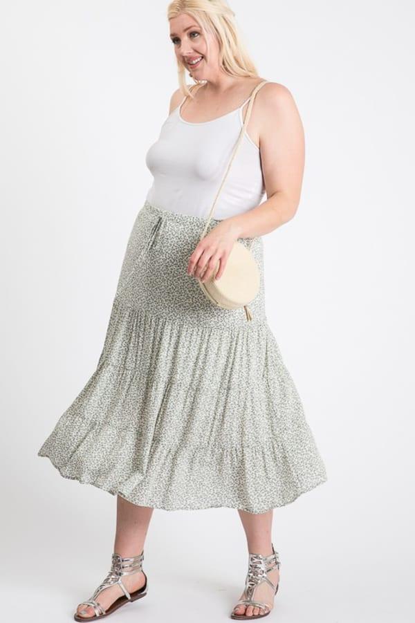 Floral Summer Skirt - Sage Multi - Front