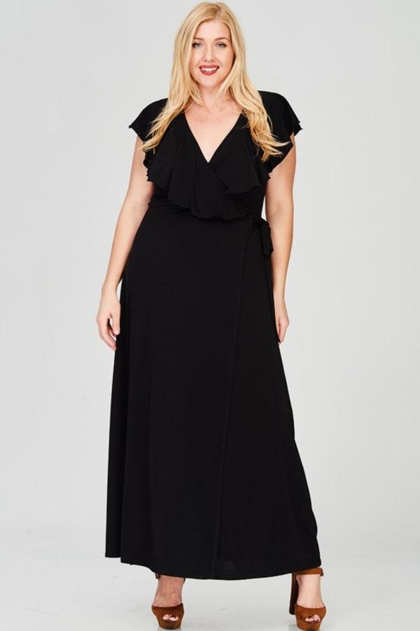 Ruffled Wrap Maxi Dress - Black - Front
