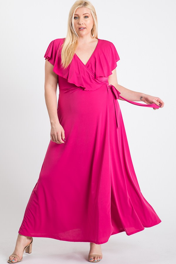Ruffled Wrap Maxi Dress - fushia - Front