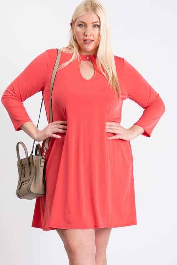 Always Ready Comfy Dress - Coral - Front