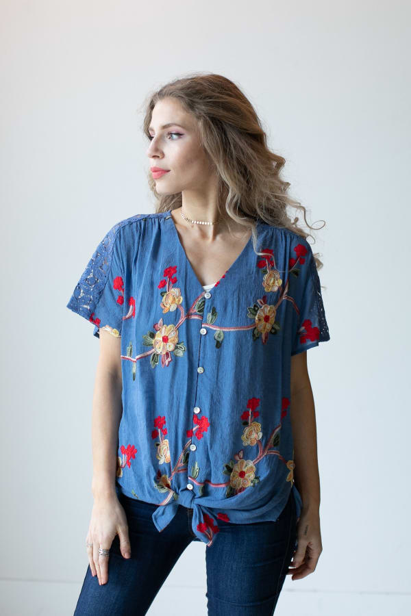 Embroidered Tie Front Blouse With Crochet - Misses - Chambray - Front