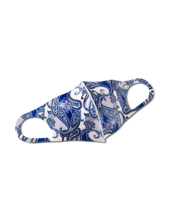 Denim Paisley Anti-Bacterial Fashion Face Mask - Blue - Front