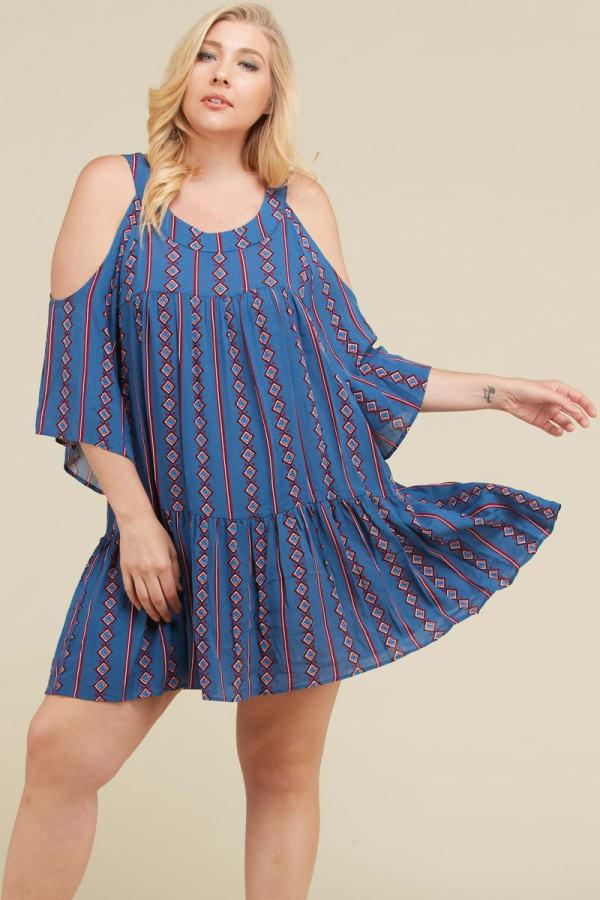 Stripe x Print Short Dress - Denim Blue - Front