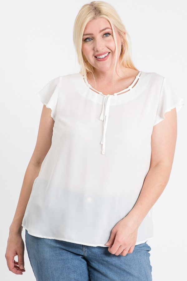 Everyday Look Short Sleeve Top - White - Front