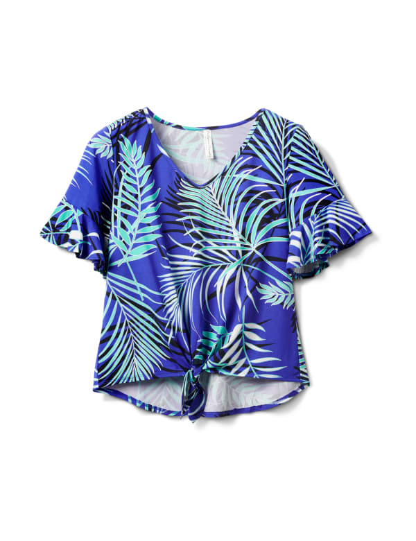 Summertime Palm Print Tie Front Knit Top - Cobalt/Green/Black - Front