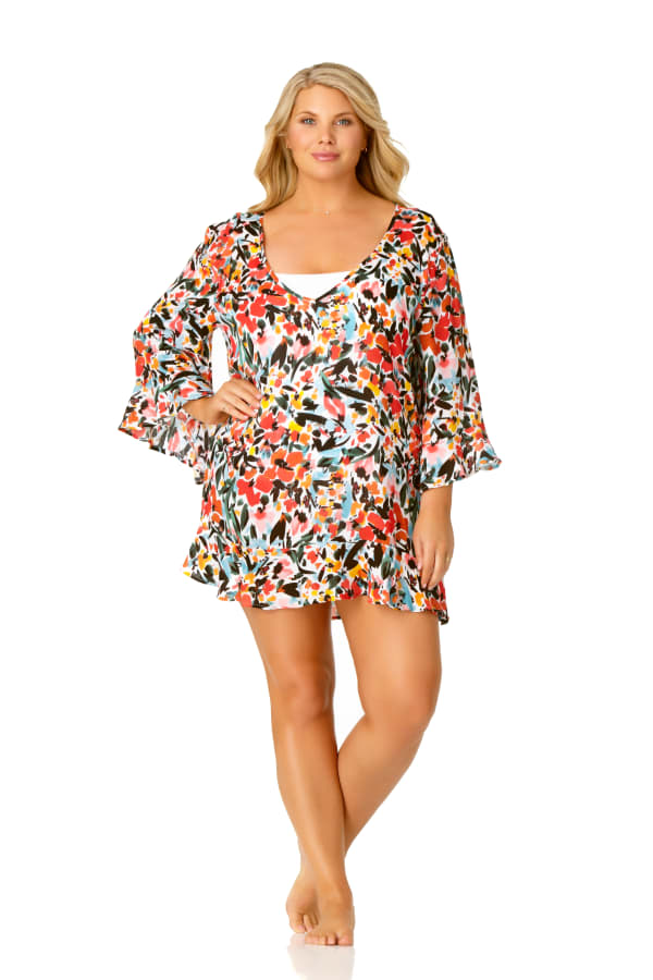Anne Cole® Sunset Floral Flounce Sleeve Swimsuit Cover-Up - Multi - Front