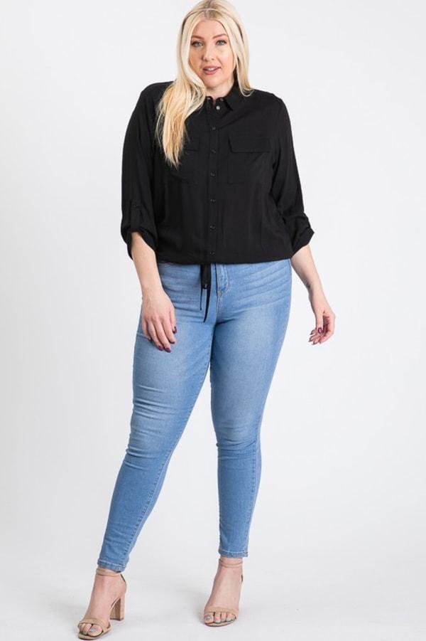 The Practical Pocket Shirt - Black - Front