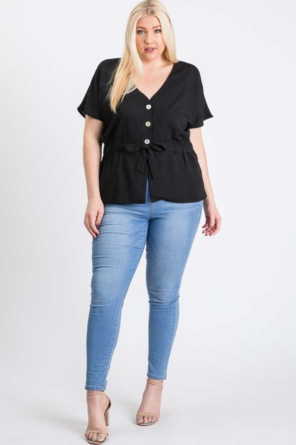 Waist Band With Front Ribbon Top - Black - Front