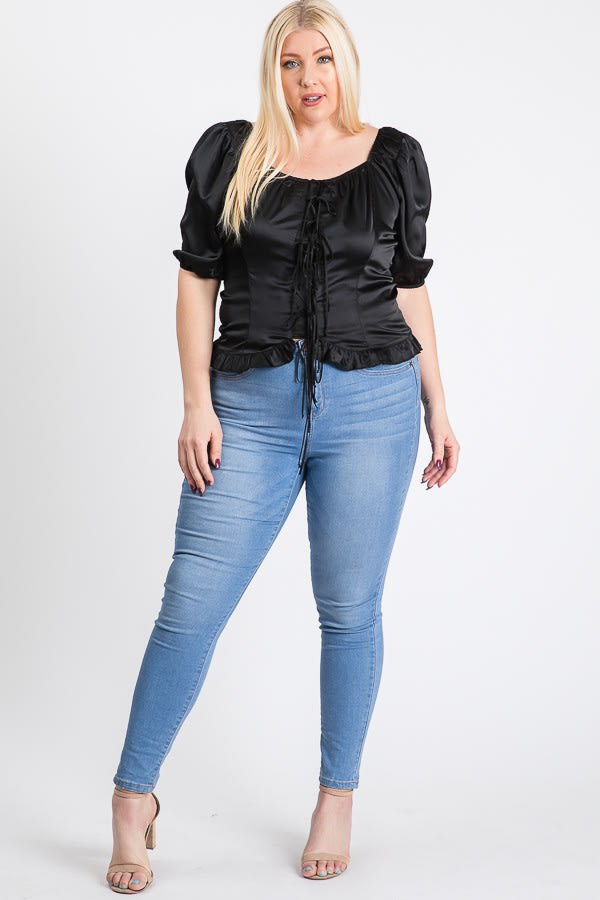 Satin Puff Sleeve Top - Black - Front
