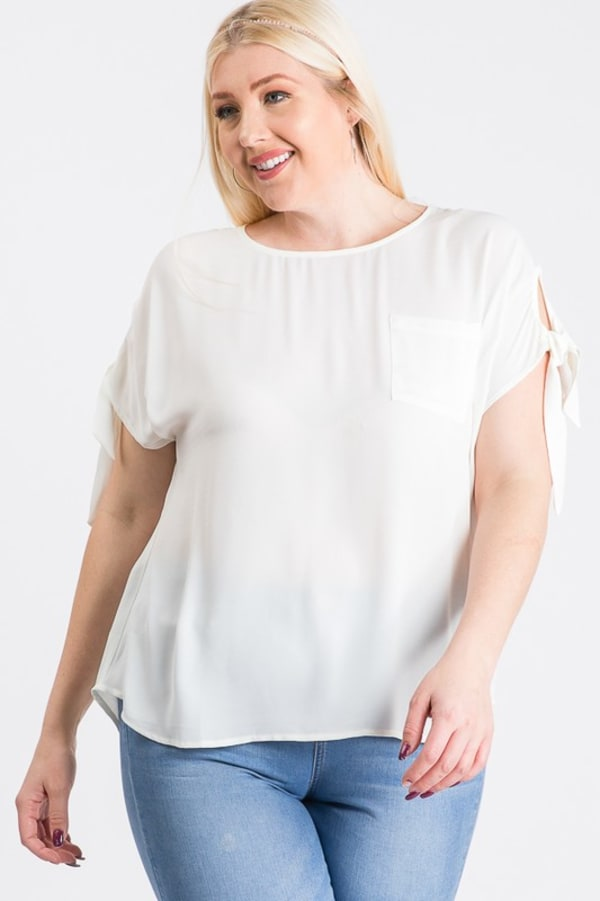 Ribbon Sleeve Top - White - Front