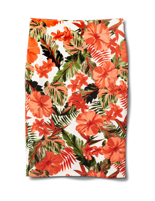 Printed Pull On  Floral Scuba Crepe Skirt - Sugar Swizzle/Spice isle - Front
