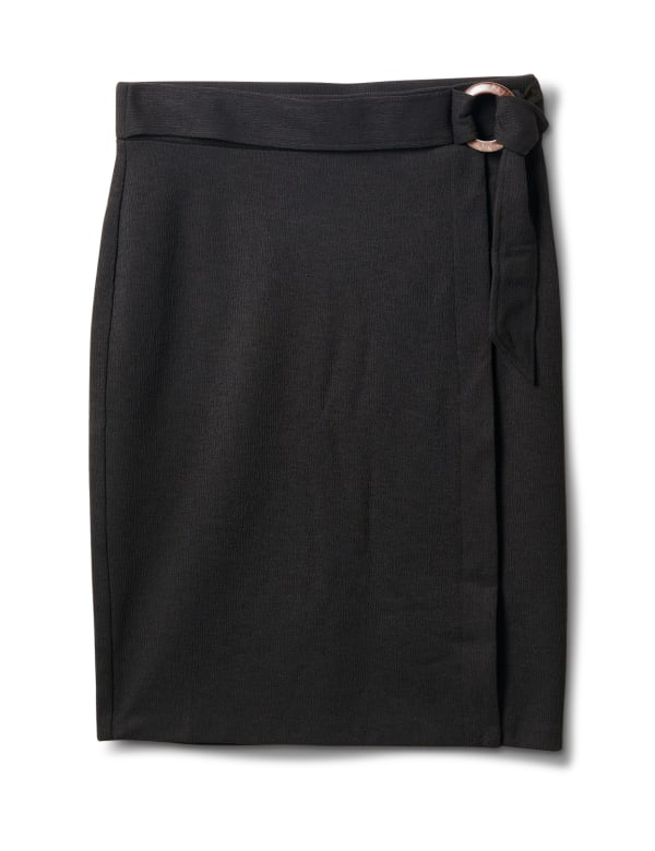 Faux Wrap Skirt with Buckle Trim - Black - Front