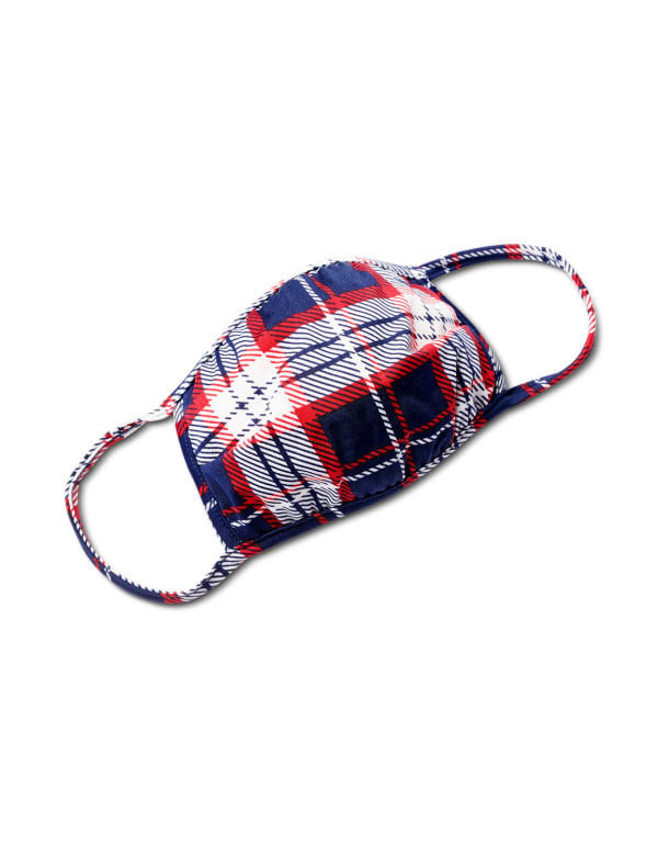Plaid Fashion Mask - Navy/Red - Front
