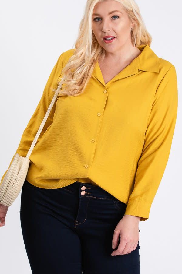 Collar Shirt - Mustard - Front