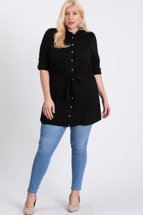 Buttoned Shirt Dress - Black - Front