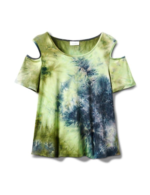 Denim Friendly  Tie Dye Cold Shoulder - Navy/Green - Front