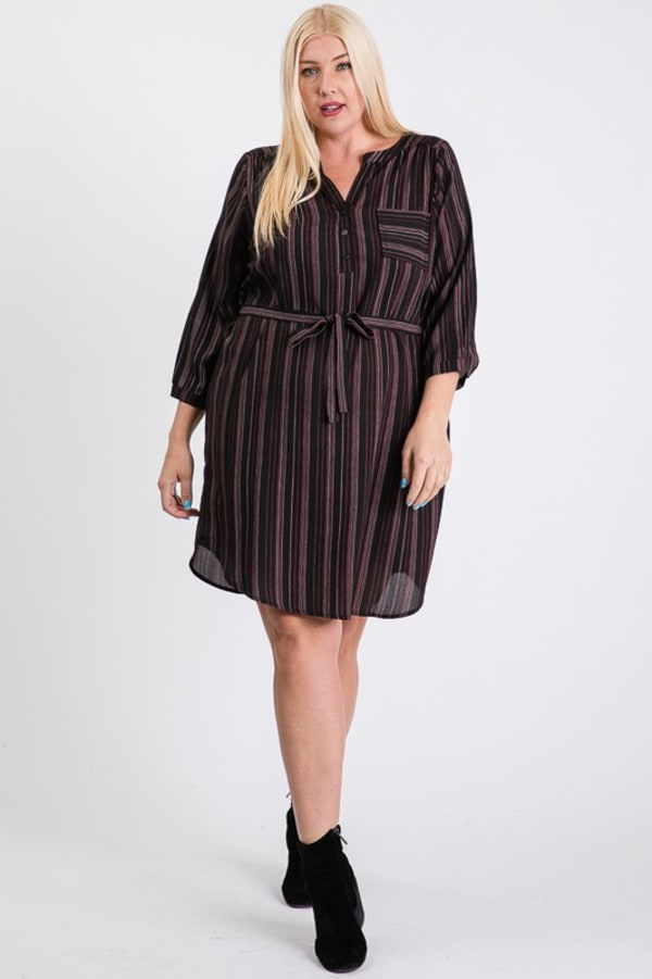 Casually Chic Shirt Dress - Black - Front