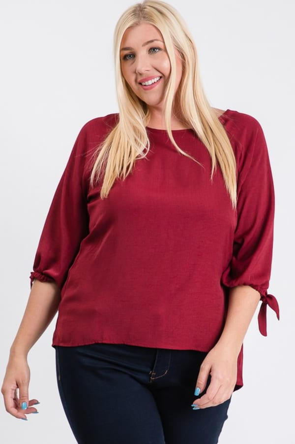 Daily Use Poly Linen Top - Burgundy - Front