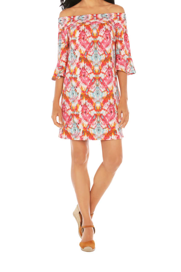 Caribbean Joe® UPF Sun Protection Off the Shoulder Dress - Very Berry - Front