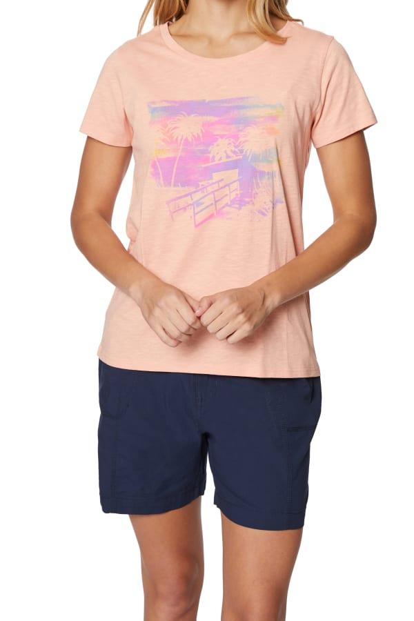 Caribbean Joe® Screen Print Knit T-Shirt - Soft Blush - Front