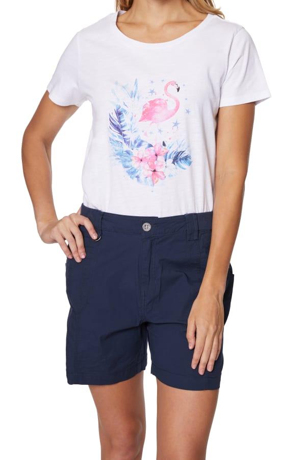 Caribbean Joe® Screen Print Knit T-Shirt - White Combo - Front