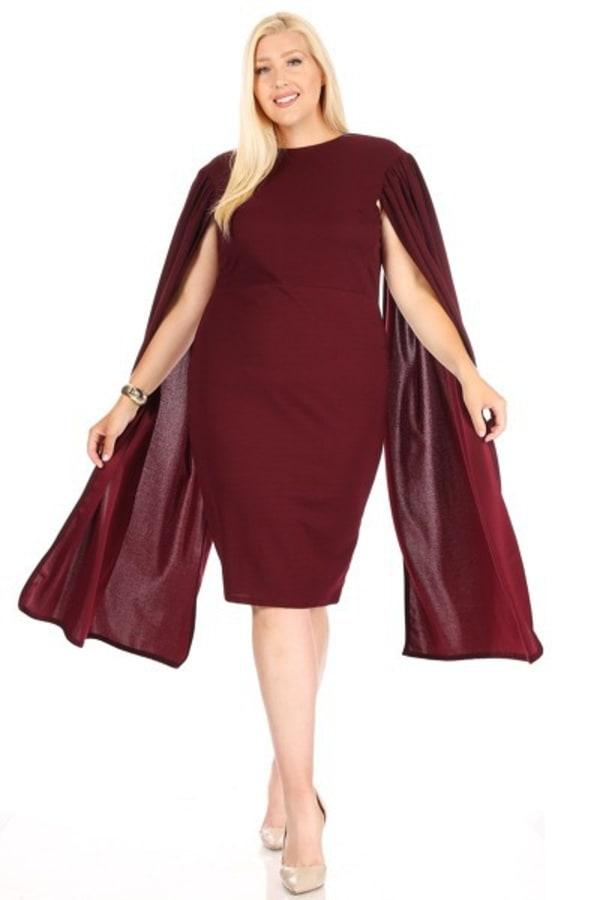 Burgundy-Loving Bodycon Midi Dress - Burgundy - Front