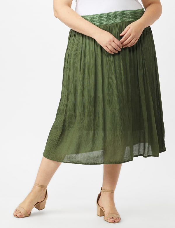 Rayon Gauze Pull On Skirt with Decorative Waistband - Olive - Front