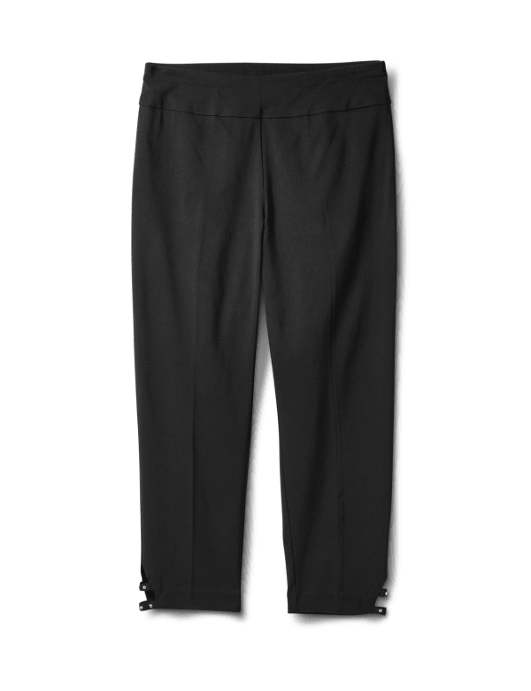 Solid Superstretch Capri Pant with Side Tab Rivets - Black - Front