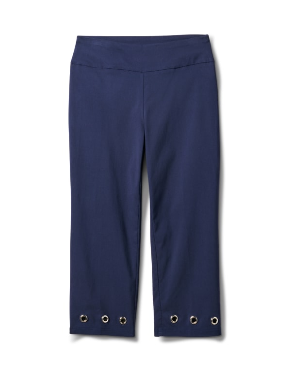 Pull On Crop Pant with Hem Grommet Detail - Navy Blazer - Front