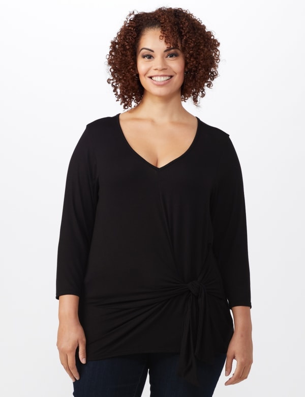 V-Neck Tie Front Knit Top - Plus -Black - Front