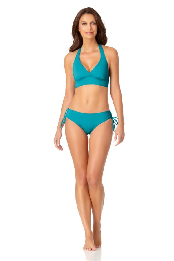 Anne Cole® Live in Color Halter Bra Swimsuit Top - Caribbean Blue - Front