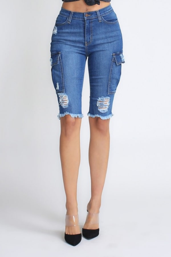 Ripped & Skinny Bermuda Shorts - Medium stone - Front