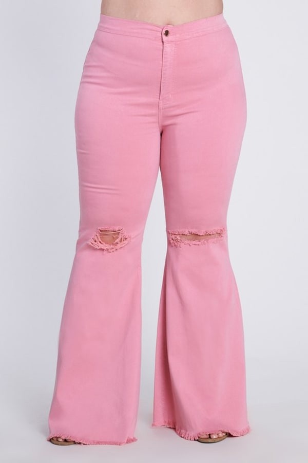Plus Size Flare Ripped Jeans - Blush - Front