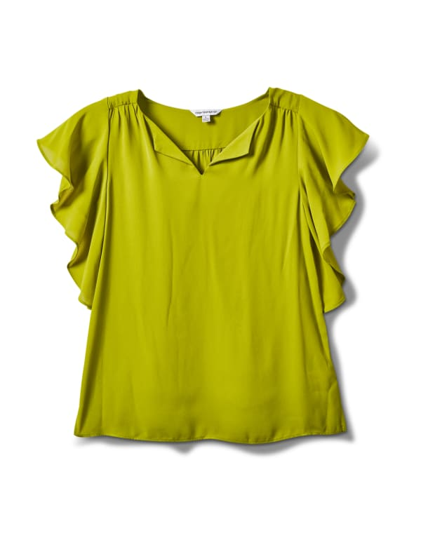 Crepe Flutter Sleeve Blouse - Apple Green - Front