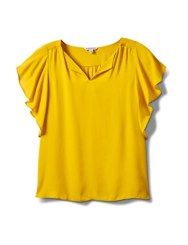 Crepe Flutter Sleeve Blouse - Mustard - Front