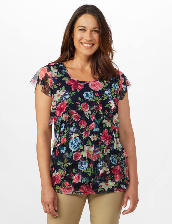 Floral Mesh Tier Knit Top - Misses - Navy - Front