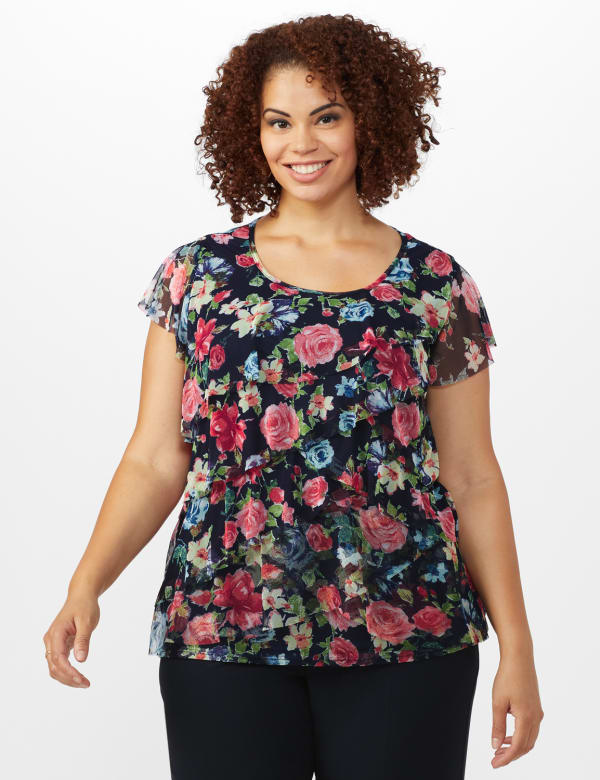 Floral Mesh Tier Knit Top - Plus - Navy - Front