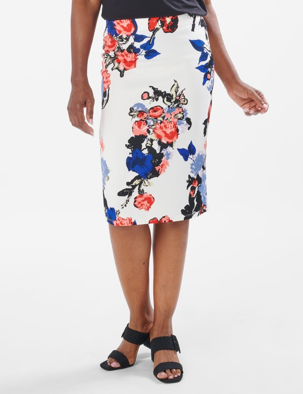 Printed scuba crepe skirt - Sugar Swizzle/Pink Gin - Front
