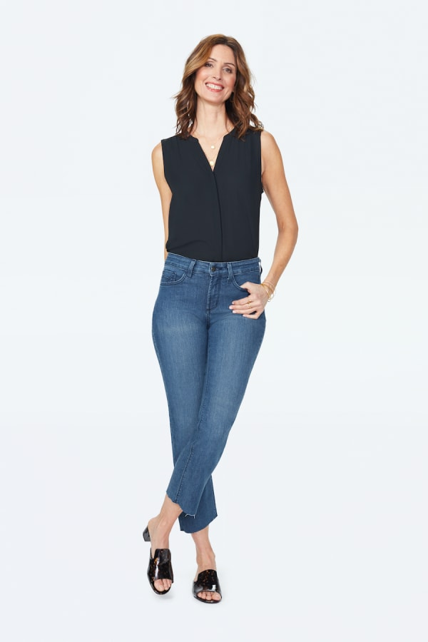 NYDJ Marilyn Straight Leg Denim Jeans with Raw Hem & Embroidered Pockets - Yucca Valley - Front