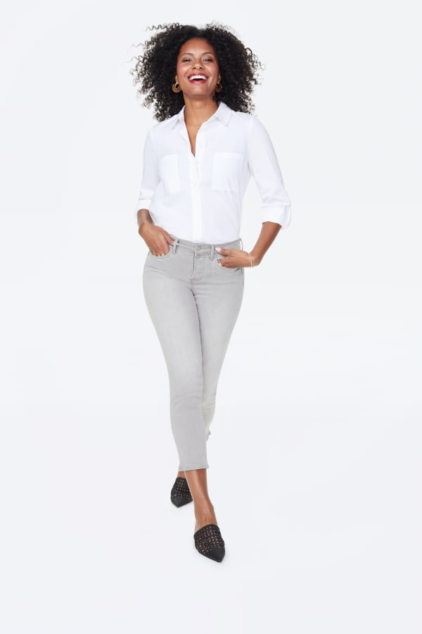 NYDJ Sheri Ankle Jeans with Mock Fly & Slits - Gale - Front