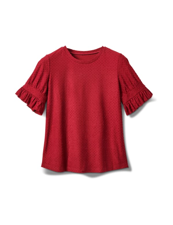 Ruffle Sleeve Clip Dot Tee - Burgundy - Front